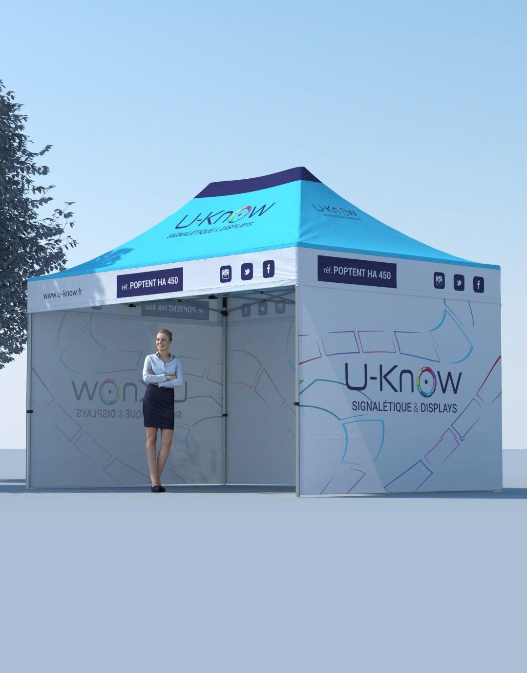 Tente Aluminium dépliante personnalisée 4,5X3M POPTENT HA 450 - U-KNOW